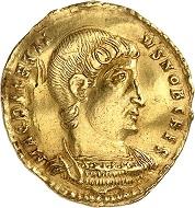 Nr. 793. Decentius Caesar, 350-353. Solidus, Rom. Äußerst selten. Mit Expertise und französischem Exportzertifikat. Gewellt, sehr schön. Taxe: 17.500 Euro.