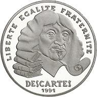 "No. 1043. France. Fifth Republic. 100 francs 1991 ""René Descartes"". Piedfort in platinum. Mintage of 5 specimens! In the original case including certificate. Estimate: 5,000 euros."
