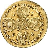 Nr. 1121. Russland. Elisabeth I., 1741-1761. 10 Rubel 1758, Moskau. Äußerst selten. Sehr schön. Taxe: 22.500 Euro