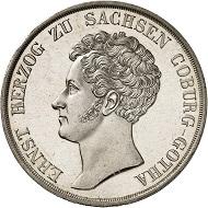 Nr. 2240. Sachsen-Coburg-Gotha. Ernst I., 1826-1844. Konventionstaler 1835, Gotha. In dieser Erhaltung äußerst selten. Erstabschlag, fast Stempelglanz. Taxe: 10.000 Euro