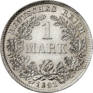 No. 2369. German Empire. 1 mark 1891 D. Extremely rare in this condition! Almost FDC. Estimate: 5,000 euros.