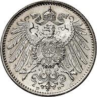Nr. 2369. Deutsches Kaiserreich. 1 Mark 1891 D. In dieser Erhaltung äußerst selten! Fast Stempelglanz. Taxe: 5.000 Euro.