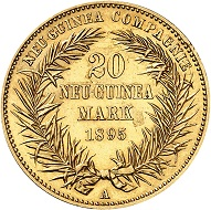 No. 3485. German New Guinea. 20 marks 1895 A. Rare in this condition. Extremely fine. Estimate: 45,000 euros.