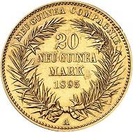 Nr. 3485. Deutsch Neuguinea. 20 Mark 1895 A. In dieser Erhaltung selten. Vorzüglich. Taxe: 45.000 Euro