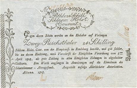 Nr. 3590. Deutsches Reich. Schleswig Holstein. 2 Reichstaler 24 Schilling 1808, Altona. Mittelknick, leicht gebraucht. Taxe: 500 Euro