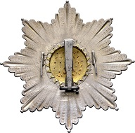 "No. 1335: Orders and decorations. Kingdom of Saxony. Dynastic Order of the Rue Crown, breast star, of Biennais (1807/8). Example from Emperor Napoleon taken from the ""Waterloo loot"". Estimate: 75,000 euros. Realized: 110,000 euros."