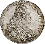 No. 4285. Mecklenburg-Strelitz. Adolph Frederick III, 1708-1752. Reichstaler 1717 (minted in 1718), Lübeck marking the 200th anniversary celebration of the Reformation. Very rare. Extremely fine. Estimate: 3,500 euros. Realized: 15,000 euros.