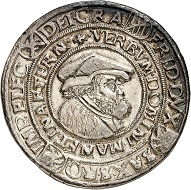 No. 4392: Saxony. Frederick III the Wise and John, 1486-1525. Thick guldengroschen 1522, Annaberg. Very rare. Very fine+. Saxonia in Nummis Collection. Estimate: 2,500 euros. Realized: 12,000 euros.
