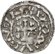 No. 5725. Regensburg. Henry II the Wrangler, 985-995 (Second reign). Denarius, Cham. Very rare. Very fine. Estimate: 750 euros. Realized: 1,800 euros.