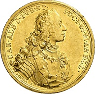 No. 7750: Bavaria. Charles Albert, 1726-1745, Emperor Charles II since 1742. 20 ducats 1739, Munich. Extremely rare. Extremely fine. Bavaria Collection. Estimate: 50,000 euros. Realized: 200,000 euros.