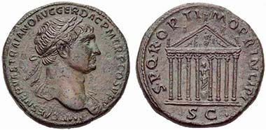 Traianus. Sestertius. Rev. Temple for Honos. From auction UBS 78 (2008), 1605.