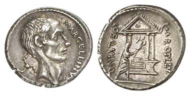 Roman Republic. Denarius of P. Cornelius Lentulus Marcellinus, 50. Head of M. Claudius Marcellus r. Rev. Marcellus carrying the trophy to the temple. Cr. 439/1. From auction Künker 174 (2010), 551.