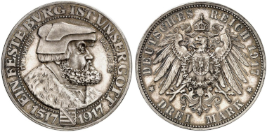 "No. 2994. German Empire. Saxony. 3 marks 1917 ""Frederick the Wise"". The rarest silver coin of the German Empire. Proof. Estimate: 60,000 euros."