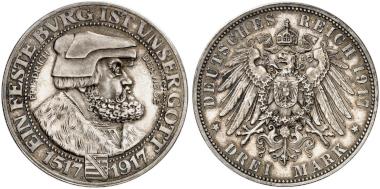 """Nr. 2994. Deutsches Kaiserreich. Sachsen. 3 Mark 1917 """"Friedrich der Weise"""". Seltenste Silbermünze des Deutschen Kaiserreich. Polierte Platte. Taxe: 60.000 Euro"""