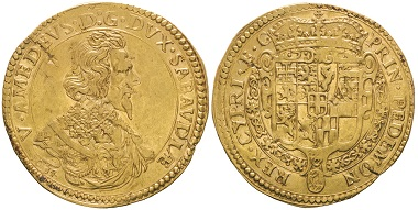 Vittorio Amedeo I., 1630-1637. Quadrupla, III tipo, Turin, 1634. MIR 703a (R10). Extremely rare. Very fine+ / Extremely fine. Estimate: 50,000 euros. From Gadoury Auction (November 17, 2018), no. 1527.