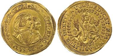 Francesco Giacinto, 1637-1638. Regentschaft seiner Mutter Maria Cristina. 4 Scudi d'oro, Turin. MIR 725 (R8). Äußerst selten. NGC AU58. Taxe: 15.000.- Euro. Aus Auktion Gadoury (17. November 2018), Nr. 1530