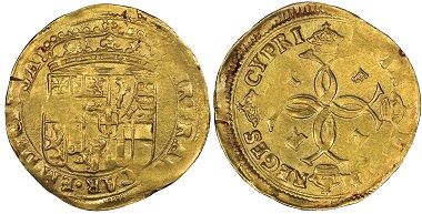 Carlo Emanuele II., 1638-1675. Reign of his mother Maria Cristina, 1638-1648. Scudo d'oro, Chambéry. MIR 746 (R10). Extremely rare. NGC MS63. Estimate: 15,000 euros. From Gadoury Auction (November 17, 2018), no. 1533.