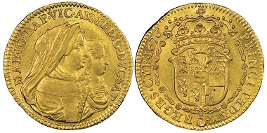 Vittorio Amedeo II., 1675-1727. Reign of his mother. Doppio, Turin, 1676. MIR 835b (R4). Very rare. NGC MS63+. Estimate: 5,000 euros. From Gadoury Auction (November 17, 2018), no. 1544.