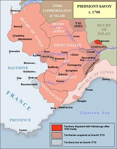Das Königreich von Piemont-Savoyen um 1700. Karte: Raymond Palmer.