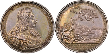 Vittorio Amedeo II., 1675-1727. Medal 1706 celebrating the successfully repelled siege of Turin. Jul. 693. NGC MS63. Estimate: 700 euros. From Gadoury Auction (November 17, 2018), no. 1561.