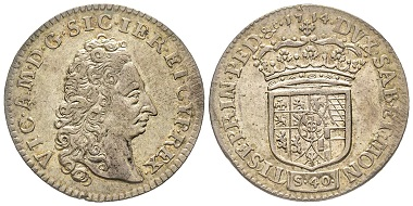 Vittorio Amedeo II., 1675-1727. As King of Sicily, 1713-1718. 2 Lire, Turin. MIR 883 (R6). Very rare. Extremely fine. Estimate: 3,000 euros. From Gadoury Auction (November 17, 2018), no.1563.