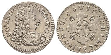 Vittorio Amedeo II., 1675-1727. Als König von Sardinien, 1724-1727. Reale Sardo, Turin, 1727. MIR 910 (R2). Vorzüglich. Taxe: 800,- Euro. Aus Auktion Gadoury (17. November 2018), Nr. 1567.