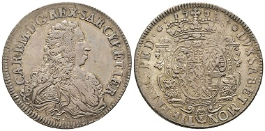 Carlo Emanuele III., 1730-1773. Scudo Vecchio da 5 Lire, Turin, 1733. MIR 925a (R4). Selten. Fast vorzüglich. Taxe: 7.000,- Euro. Aus Auktion Gadoury (17. November 2018), Nr. 1573.