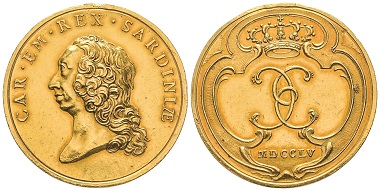 Carlo Emanuele III., 1730-1773. Gold medal, Turin, 1755. Fast FDC. Estimate: 10,000 euros. From Gadoury Auction (November 17, 2018), no. 1632.