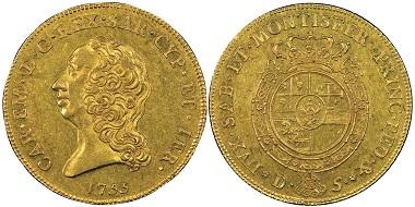 Carlo Emanuele III., 1730-1773. Carlino da 5 Doppie, Turin, 1755. MIR 941a (R5). Sehr selten. NGC AU58. Taxe: 40.000,- Euro. Aus Auktion Gadoury (17. November 2018), Nr. 1590.