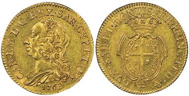 Carlo Emanuele III., 1730-1773. Mezzo Carlino Sardo da Doppiette 2.5, Turin, 1768. MIR 955a (R5). Sehr selten. NGC MS62. Taxe: 10.000,- Euro. Aus Auktion Gadoury (17. November 2018), Nr. 1634.