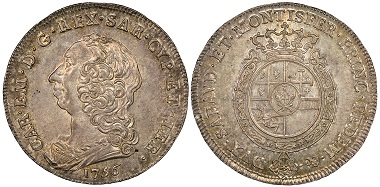 Carlo Emanuele III., 1730-1773. Scudo Nuovo, Turin, 1756. MIR 946b (R2). Rare. NGC MS63. Estimate: 3,500 euros. From Gadoury Auction (November 17, 2018), no. 1605.