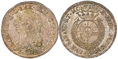 Carlo Emanuele III., 1730-1773. Quarto di Scudo Nuovo, Turin, 1765. MIR 948k. NGC MS66. Taxe: 1.000,- Euro. Aus Auktion Gadoury (17. November 2018), Nr. 1624.