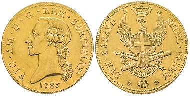 Vittorio Amedeo III., 1773-1796. Carlino da 5 Doppie, Turin, 1786. MIR 979 (R4). Selten. NGC AU55. Taxe: 25.000,- Euro. Aus Auktion Gadoury (17. November 2018), Nr. 1652.