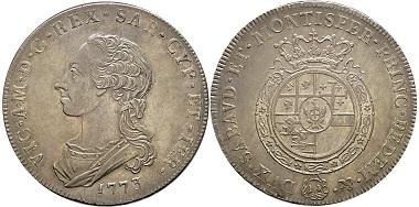 Vittorio Amedeo III., 1773-1796. Scudo da 6 Lire, Turin, 1773. MIR 987a (R5). Sehr selten. Fast FDC. Taxe: 15.000,- Euro. Aus Auktion Gadoury (17. November 2018), Nr. 1666.