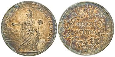 Piemontesische Republik. 1798-1799. 1/2 Scudo, Turin, Jahr VII (= 1799). MIR 1006. Selten. PCGS MS62. Taxe: 2.500,- Euro. Aus Auktion Gadoury (17. November 2018), Nr. 1103. 41 mm.