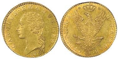 Carlo Emanuele IV., 1796-1800. Doppia, Torino, 1797. MIR 1010a (R2). NGC MS62. Taxe: 3.000,- Euro. Aus Auktion Gadoury (17. November 2018), Nr. 1705