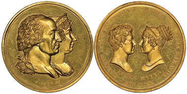 Vittorio Emanuele I., 1802-1821. Gold medal celebrating the wedding of his daughter Maria Teresa and Charles Louis, Duke of Parma, Turin, 1820. Jul. 3692. Extremely rare. FDC. Estimate: 18,000 euros. From Gadoury Auction (November 17, 2018), no. 1722.