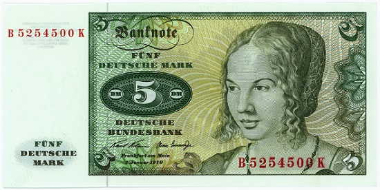 "Deutsche Bundesbank, 5 mark note, 1970 with the ""Portrait of a Young Venetian Woman"" by Albrecht Dürer."