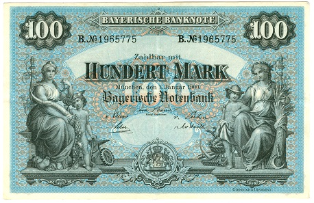Bayerische Notenbank (Bavarian Central Bank), 100 mark note, 1900.