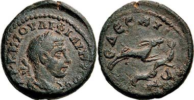 Edessa (Macedonia). Philippus I Arabs. Rev. goat, other unidentifiable animals below. From auction Peus 398 (2009), 642.