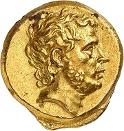 Lot 25. Chalcis. Gold stater, 196 BC, struck in the name of T. Quinctius Flaminius. Starting price: 500,000 CHF. Result: 600,000 CHF.