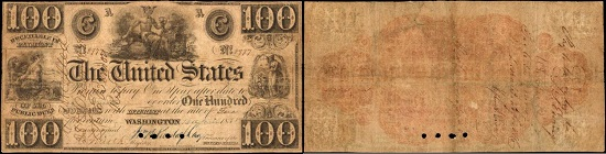 Lot 3016: Hessler X99D. 1838 $100 Interest Bearing Note. PCGS Currency Very Good 10. Starting price: $9,000. Realized: $114,000.