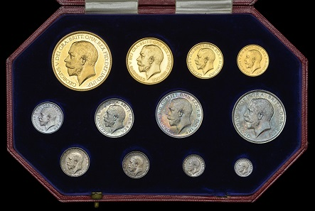 Lot 363. George V (1910-1936), Proof set, 1911, comprising Five Pounds, Two Pounds, Sovereign and Half-Sovereign, Halfcrown to Maundy Penny [12]. About as struck, some hairlining on the gold, the silver toned; in official case of issue. GBP 10,000-12,000.