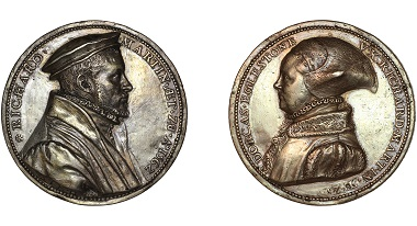Steven van Herwijck: Richard Martin and Dorcas Eglestone, 1562, silver, 57mm. © Trustees of the British Museum. In the 1560s the Netherlandish medallist van Herwijck made two extended trips to London, where he made various medals of British subjects.