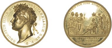 Benedetto Pistrucci: Coronation of George IV, 1821, gold, 35mm. © Trustees of the British Museum. Pistrucci came to England in 1815. From 1817 until his death in 1855 he was Chief Engraver / Medallist at the Royal Mint.