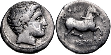 Lot 24: Thessaly, Phalanna. Drachm, mid 4th century BC. Near VF, dispersed toning. From the BCD Collection. Estimate: $100.