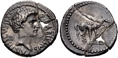Lot 278: The Republicans. Q. Labienus Parthicus. Denarius, early 40 BC. VF, toned, crystallized metal that has broken into five pieces and has been glued back together with a piece in the center missing. Extremely rare. From the Andrew McCabe Collection. Estimate: $1,000.