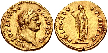 Lot 303: Domitian as Caesar. Aureus, AD 69-81, Rome mint. Struck under Vespasian, AD 75. Good VF, reddish tone around devices, underlying luster. From the WRG Collection. Estimate: $5,000.