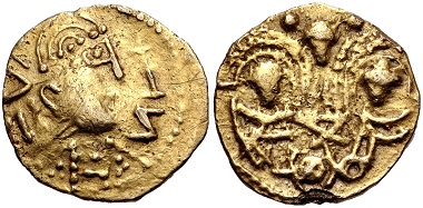 Lot 481: Anglo-Saxon, Pale Gold Phase. Thrymsa – Shilling ('Two Emperors' type), circa 650-675, Mint in Kent(?).VF, edge chip, struck from rusted dies. Estimate: $1,500.
