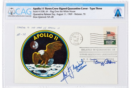 "Apollo 11 Type Three ""Quarantine Cover,"" hand-signed by Armstrong, Aldrin and Collins. Realized: $156,250."